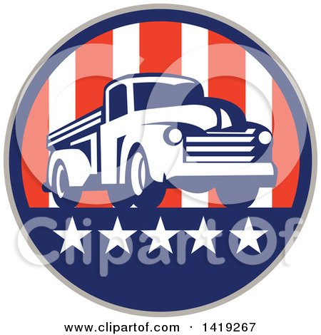 Clipart of a Retro Vintage Pickup Truck in an American Themed Circle - Royalty Free Vector Illustration by patrimonio