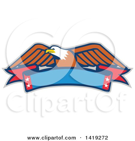 Clipart of a Retro Bald Eagle over a Blank Banner - Royalty Free Vector Illustration by patrimonio