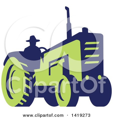Clipart of a Retro Silhouetted Blue and Green Farmer Operating a Tractor - Royalty Free Vector Illustration by patrimonio