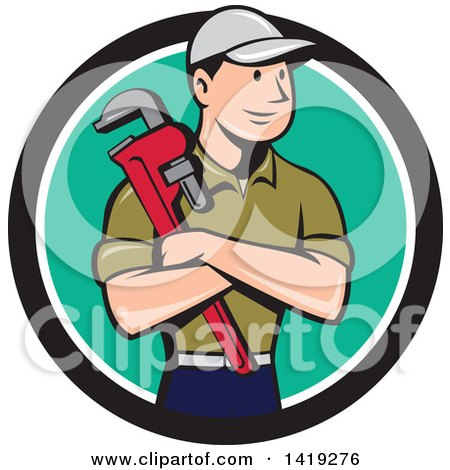 Retro Cartoon White Male Plumber or Handy Man Holding a Monkey Wrench in Folded Arms, Inside a Black White and Turquoise Circle Posters, Art Prints