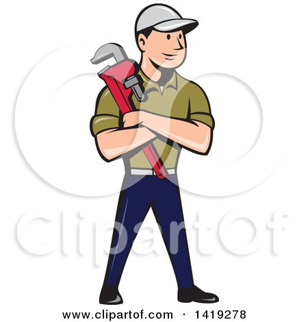 Retro Cartoon White Male Plumber or Handy Man Holding a Monkey Wrench in Folded Arms Posters, Art Prints