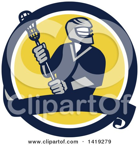 Clipart Of A Retro Male Lacrosse Player In A Blue White And Yellow Circle With A Banner Royalty Free Vector Illustration
