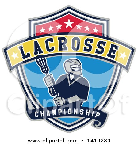 Clipart of a Retro Male Lacrosse Player in a Championship Shield - Royalty Free Vector Illustration by patrimonio