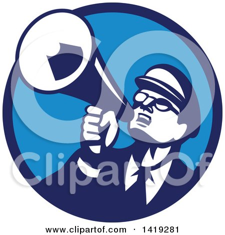 Clipart of a Retro Nerdy Man Shouting Upwards with a Megaphone in a Blue Circle - Royalty Free Vector Illustration by patrimonio