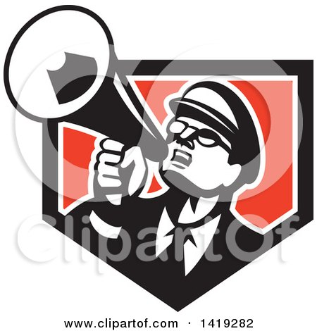 Clipart of a Retro Nerdy Man Shouting Upwards with a Megaphone in a Black White and Red Shield - Royalty Free Vector Illustration by patrimonio
