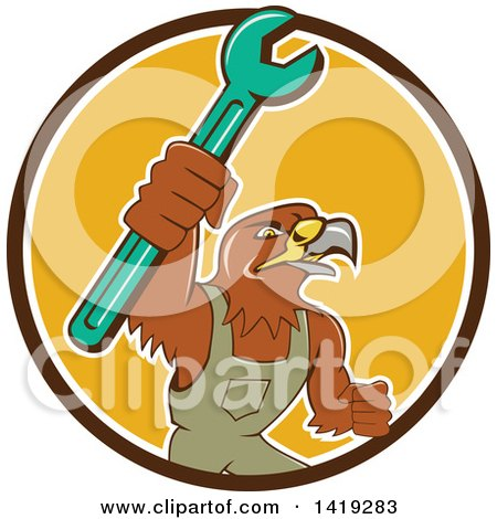 Clipart of a Retro Hawk Mechanic Man Wearing Overalls and Holding up a Spanner Wrench in a Brown White and Yellow Circle - Royalty Free Vector Illustration by patrimonio