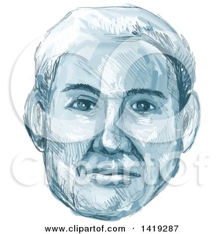 Clipart of a Sketched Man's Face in Blue Tones - Royalty Free Vector Illustration by patrimonio