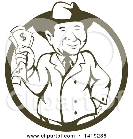Clipart of a Retro Cartoon Business Man Wearing a Fedora Hat and Holding Cash Money in a Cricle - Royalty Free Vector Illustration by patrimonio