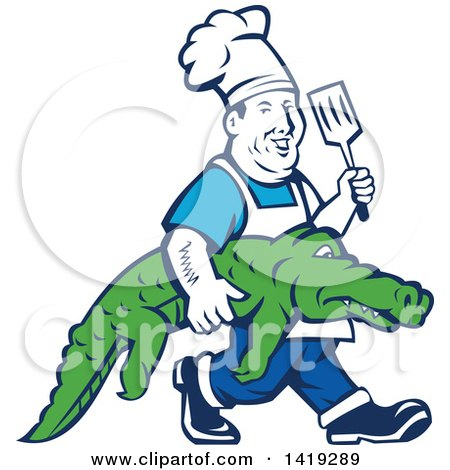 Clipart of a Retro Chubby Male Chef Carrying an Alligator and Holding up a Spatula - Royalty Free Vector Illustration by patrimonio