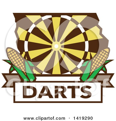 Clipart of a Retro Dart Board in the Shape of Iowa State with Corn over Darts Text - Royalty Free Vector Illustration by patrimonio