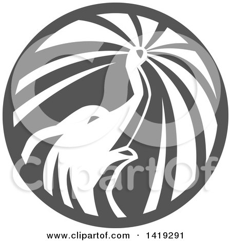 Clipart of a Retro Elephant Spraying Water from His Trunk in a Circle, in Gray Tones - Royalty Free Vector Illustration by patrimonio