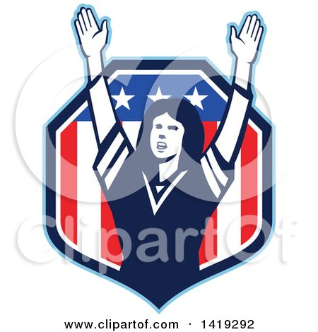 Clipart of a Retro Female American Football Fan Cheering with Her Arms up in an American Shield - Royalty Free Vector Illustration by patrimonio