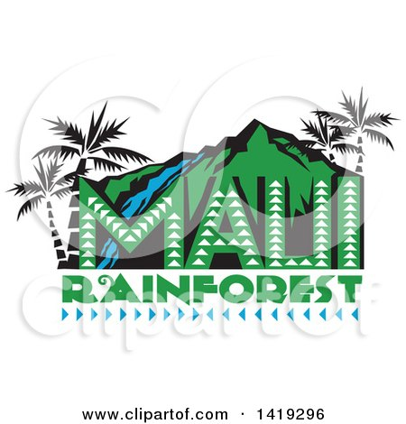 Clipart of a Retro Maui Rainforest Design with a Waterfall, Palm Trees and Mountains - Royalty Free Vector Illustration by patrimonio