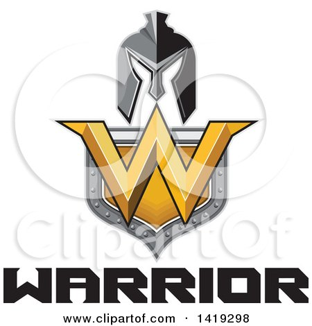 Clipart of a Retro Spartan Helmet over a Shield with a W and Warrior Text - Royalty Free Vector Illustration by patrimonio
