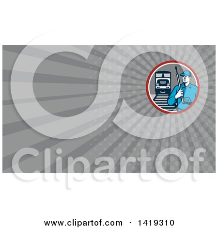 Clipart of a Retro Male Pressure Washer Worker in a Circle with a Train and Tracks and Gray Rays Background or Business Card Design - Royalty Free Illustration by patrimonio