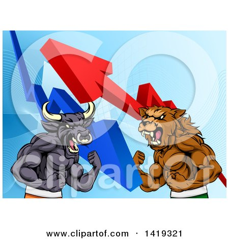Clipart of a Muscular Brown Bear Man and Bull Ready to Fight over a Graph with Arrows - Royalty Free Vector Illustration by AtStockIllustration