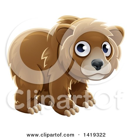 Clipart of a Cartoon Adorable Grizzly Bear Cub - Royalty Free Vector Illustration by AtStockIllustration