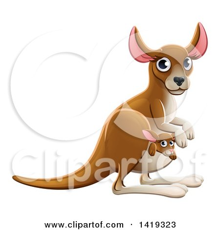 Clipart of a Cartoon Cute Kangaroo Mom and Baby Joey - Royalty Free Vector Illustration by AtStockIllustration