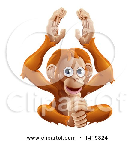 Clipart of a Cartoon Cute Orangutan Monkey Sitting and Clapping - Royalty Free Vector Illustration by AtStockIllustration