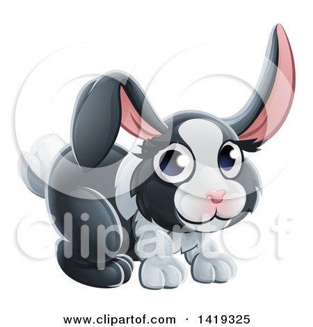 Clipart of a Cartoon Adorable Dutch Bunny Rabbit - Royalty Free Vector Illustration by AtStockIllustration