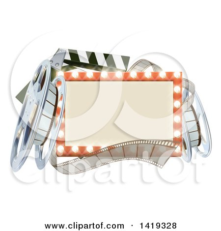 Clipart of a Cinema Movie Theater Sign with Film Reels and a Clapper - Royalty Free Vector Illustration by AtStockIllustration