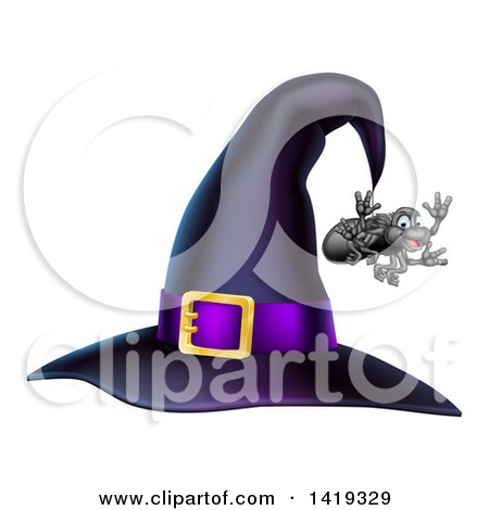 Clipart of a Witch Hat with a Purple Band and Dangling Happy Spider - Royalty Free Vector Illustration by AtStockIllustration
