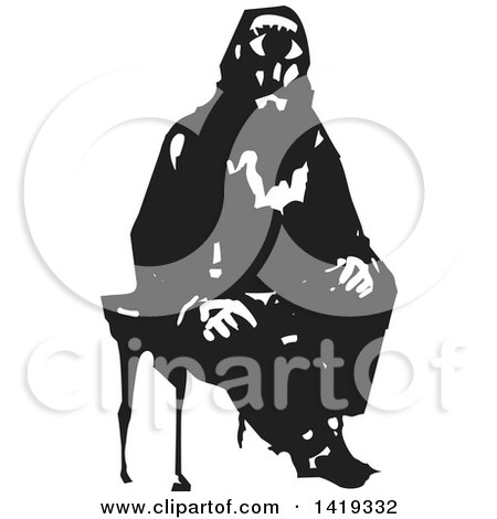 Clipart of a Black and White Woodcut Cyclops Man Sitting in a Chair - Royalty Free Vector Illustration by xunantunich