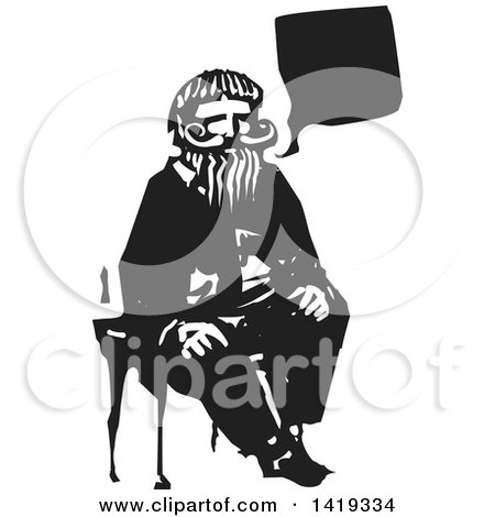 Clipart of a Black and White Woodcut Talking Old Bearded Man Sitting in a Chair - Royalty Free Vector Illustration by xunantunich