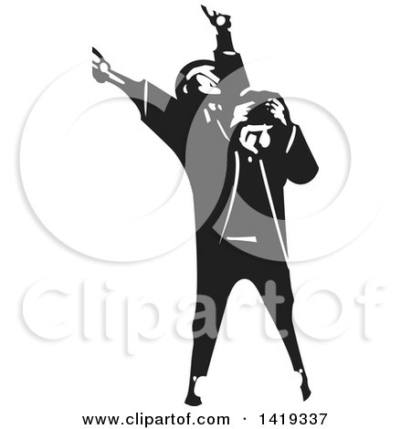 Clipart of a Black and White Woodcut Man with Manic Depression - Royalty Free Vector Illustration by xunantunich