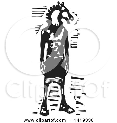 Clipart of a Black and White Woodcut Horse Headed Man - Royalty Free Vector Illustration by xunantunich