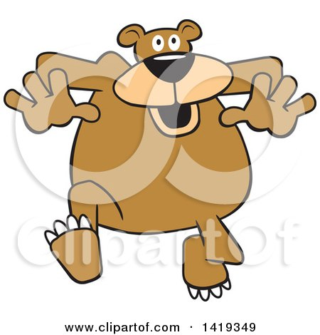 Clipart of a Cartoon Goofy Bear Jogging - Royalty Free Vector Illustration by Johnny Sajem