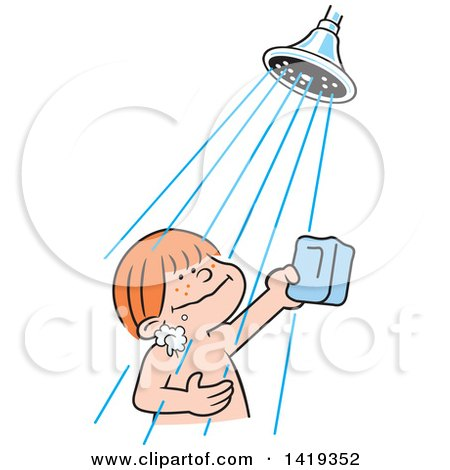 clipart of a cartoon happy red haired caucasian boy holding a bar of rh clipartof com clip art shower head clip art showing mount vesuvius