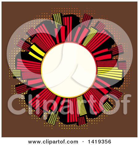 Clipart of a Blank White Round Frame Encircled with Retro Red Black and Yellow Skyscrapers over Brown with Dots - Royalty Free Vector Illustration by elaineitalia