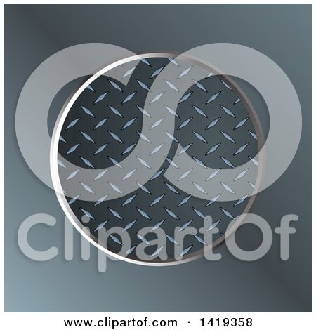 clipart of a diamond plate metal round frame over blurred metal royalty free vector. Black Bedroom Furniture Sets. Home Design Ideas