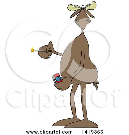 Clipart of a Cartoon Moose Holding a Lit Match - Royalty Free Vector Illustration by djart