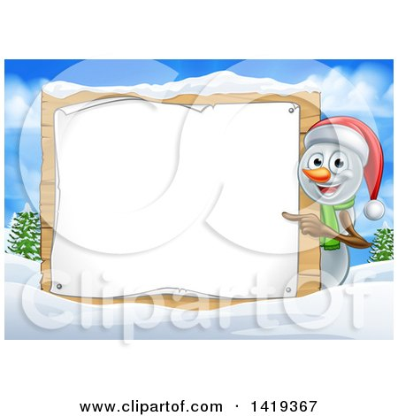 Clipart of a Happy Snowman Wearing a Christmas Santa Hat and Pointing Around a Blank Sign in a Winter Landscape - Royalty Free Vector Illustration by AtStockIllustration