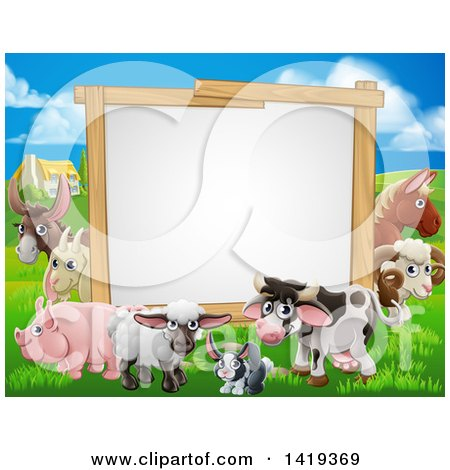 Clipart of a Blank Sign Board Surrounded by Farm Animals, with a House in the Background - Royalty Free Vector Illustration by AtStockIllustration