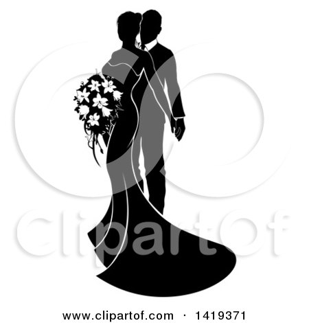 Clipart of a Black and White Silhouetted Posing Bride and Groom - Royalty Free Vector Illustration by AtStockIllustration