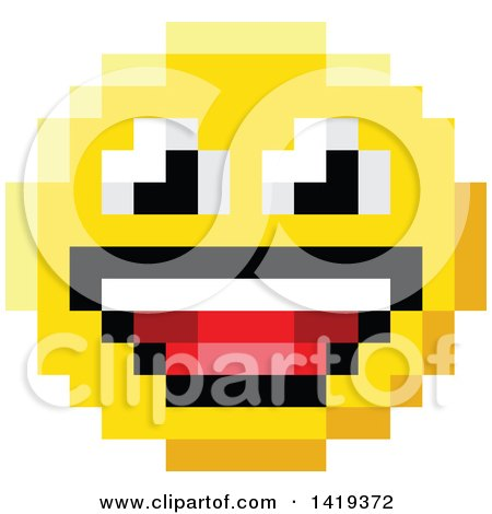 Clipart of a Laughing 8 Bit Video Game Style Emoji Smiley Face - Royalty Free Vector Illustration by AtStockIllustration