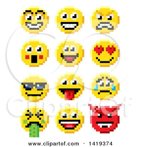 Clipart of Retro 8 Bit Video Game Style Emoji Smiley Faces - Royalty Free Vector Illustration by AtStockIllustration