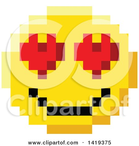 Clipart of a 8 Bit Video Game Style Emoji Smiley Face with Heart Eyes - Royalty Free Vector Illustration by AtStockIllustration