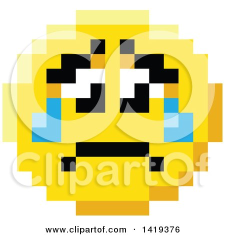 Clipart of a Crying Sad 8 Bit Video Game Style Emoji Smiley Face - Royalty Free Vector Illustration by AtStockIllustration