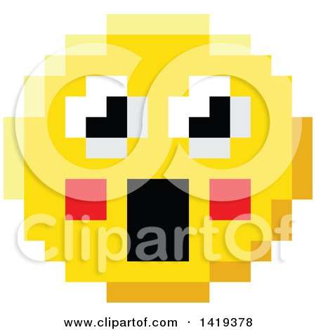 Clipart of a Surprised 8 Bit Video Game Style Emoji Smiley Face - Royalty Free Vector Illustration by AtStockIllustration