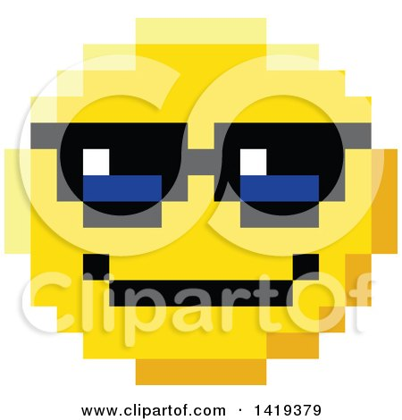 Clipart of a Cool 8 Bit Video Game Style Emoji Smiley Face Wearing Sunglasses - Royalty Free Vector Illustration by AtStockIllustration