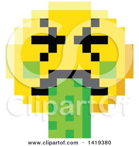 Clipart of a Puking 8 Bit Video Game Style Emoji Smiley Face - Royalty Free Vector Illustration by AtStockIllustration