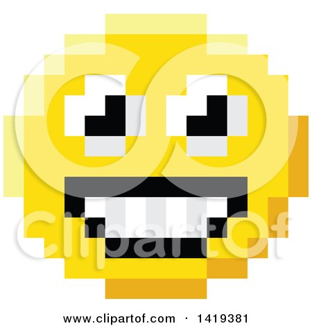 Clipart of a Happy 8 Bit Video Game Style Emoji Smiley Face - Royalty Free Vector Illustration by AtStockIllustration