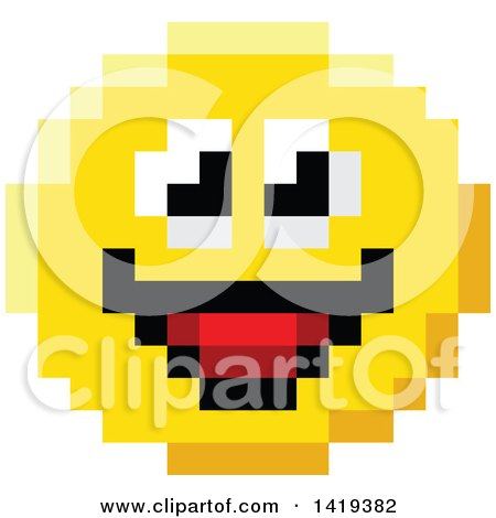 Clipart of a Smiling 8 Bit Video Game Style Emoji Smiley Face - Royalty Free Vector Illustration by AtStockIllustration
