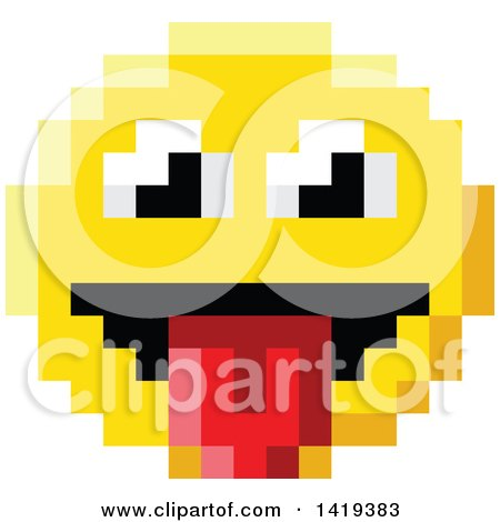 Clipart of a Silly 8 Bit Video Game Style Emoji Smiley Face Sticking a Tongue out - Royalty Free Vector Illustration by AtStockIllustration