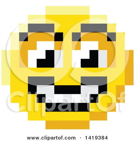 Clipart of a Grinning 8 Bit Video Game Style Emoji Smiley Face - Royalty Free Vector Illustration by AtStockIllustration