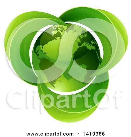 Clipart of a 3d Shiny Green Earth Globe with Leaves - Royalty Free Vector Illustration by AtStockIllustration